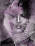 Woman dancer portrait composite. Original art as a composite.  Concept for a grunge portrait of a dancer with lavender undertones Stock Images