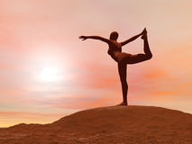 Dancer pose, natarajasana - 3D render Royalty Free Stock Photos
