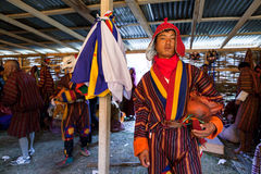 Dancer poses in dressroom at the buddhist festival  of Wangdi Royalty Free Stock Image