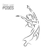 Dancer posing line art illustration; abstract movement woman Stock Images