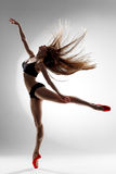 The dancer. Dancer posing on a studio background royalty free stock photography