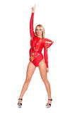 Dancer in red costume Stock Photos