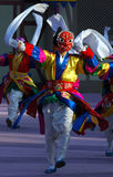 Dancer with red mask. Traditional Lunar New Year's performance in South Korea Royalty Free Stock Photo