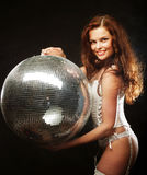 Dancer redhair girl  with disco ball Royalty Free Stock Photography