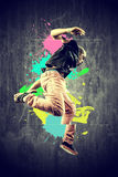 Dancer in retro style with splashes royalty free stock image