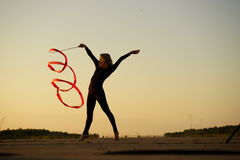 Dancer with ribbon Royalty Free Stock Photo