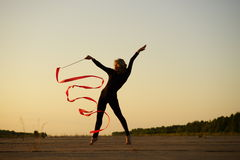 Dancer with ribbon Royalty Free Stock Image