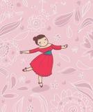 Dancer on romantic flower background. Cartoon illustration Stock Photos