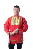 Dancer in russian costume with letter Royalty Free Stock Photos