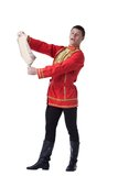 Dancer in russian costume with paper Royalty Free Stock Images