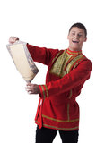 Dancer in russian costume with paper Royalty Free Stock Photography