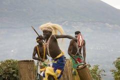 Dancer in Rwanda native dance troop, Virunga, Africa. Virunga, Uganda - March 1, 2017 :  Native Rwandan dance troop in Virunga, Rwanda, Africa Royalty Free Stock Photography