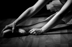 Dancer's legs. Dancer,standing on pointe,giving the concept of equilibrium,stability stock image