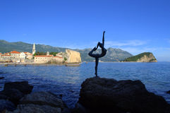 Dancer sculpture at Budva bay,Adriatic sea Royalty Free Stock Photography