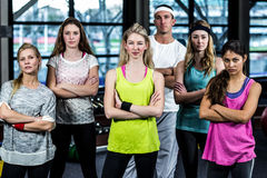 Dancer serious group posing together. In the gym stock photos