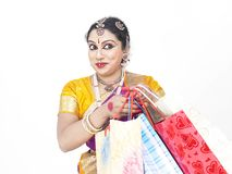 Dancer with shopping bags Royalty Free Stock Photos