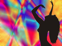 Dancer silhouette on colorfull background. Dancer silhouette illustration on colorful background Stock Photography