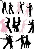 Dancer silhouette pairs Royalty Free Stock Photos