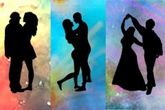 Dancer silhouettes Stock Image