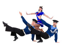 Dancer team dressed as a sailors posing on an Royalty Free Stock Photos