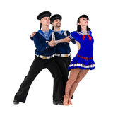 Dancer team dressed as a sailors posing on an Royalty Free Stock Image