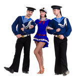 Dancer team dressed as a sailors posing on an isolated white background royalty free stock photos