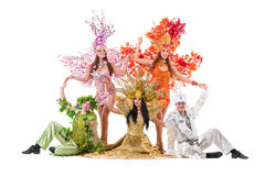 Dancer team wearing carnival costumes dancing Stock Image