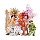 Dancer team wearing carnival costumes dancing Stock Images