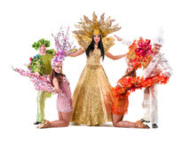 Dancer team wearing carnival costumes dancing Royalty Free Stock Photos