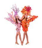 Dancer team wearing carnival costumes dancing Stock Photo