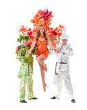 Dancer team wearing carnival costumes dancing Royalty Free Stock Images