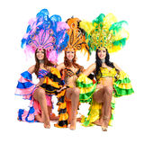 Dancer team wearing carnival costumes dancing Royalty Free Stock Photography