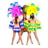 Dancer team wearing carnival costumes dancing Royalty Free Stock Image