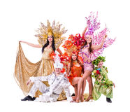 Dancer team wearing carnival costumes dancing Stock Photography