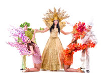 Dancer team wearing carnival costumes dancing Stock Photos