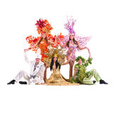 Dancer team wearing carnival costumes dancing Stock Images