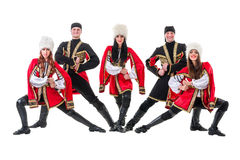Dancer team wearing a folk Caucasian highlander Stock Photos