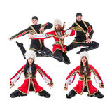 Dancer team wearing a folk Caucasian highlander Stock Photo