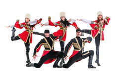 Dancer team wearing a folk Caucasian highlander Royalty Free Stock Image