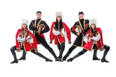 Dancer team wearing a folk Caucasian highlander Stock Images