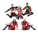 Dancer team wearing a folk Caucasian highlander Stock Photography