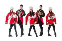 Dancer team wearing a folk Caucasian highlander Royalty Free Stock Image