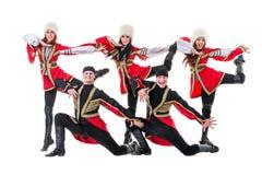 Dancer team wearing a folk Caucasian highlander Royalty Free Stock Images
