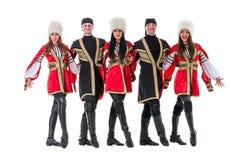 Dancer team wearing a folk Caucasian highlander Royalty Free Stock Photos