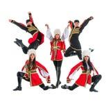 Dancer team wearing a folk Caucasian highlander Royalty Free Stock Photography