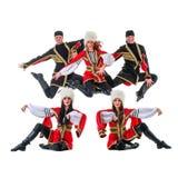 Dancer team wearing a folk Caucasian highlander Stock Photos