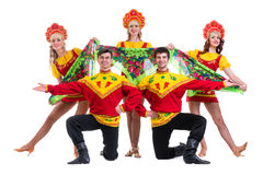 Dancer team wearing a folk costumes isolated on Royalty Free Stock Image