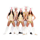 Dancer team wearing a folk cossack costumes Royalty Free Stock Photos
