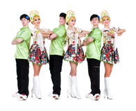 Dancer team wearing a folk ukrainian costumes Royalty Free Stock Photography
