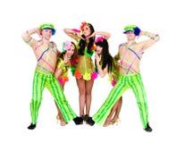 Dancer team wearing a folk ukrainian costumes Royalty Free Stock Photos